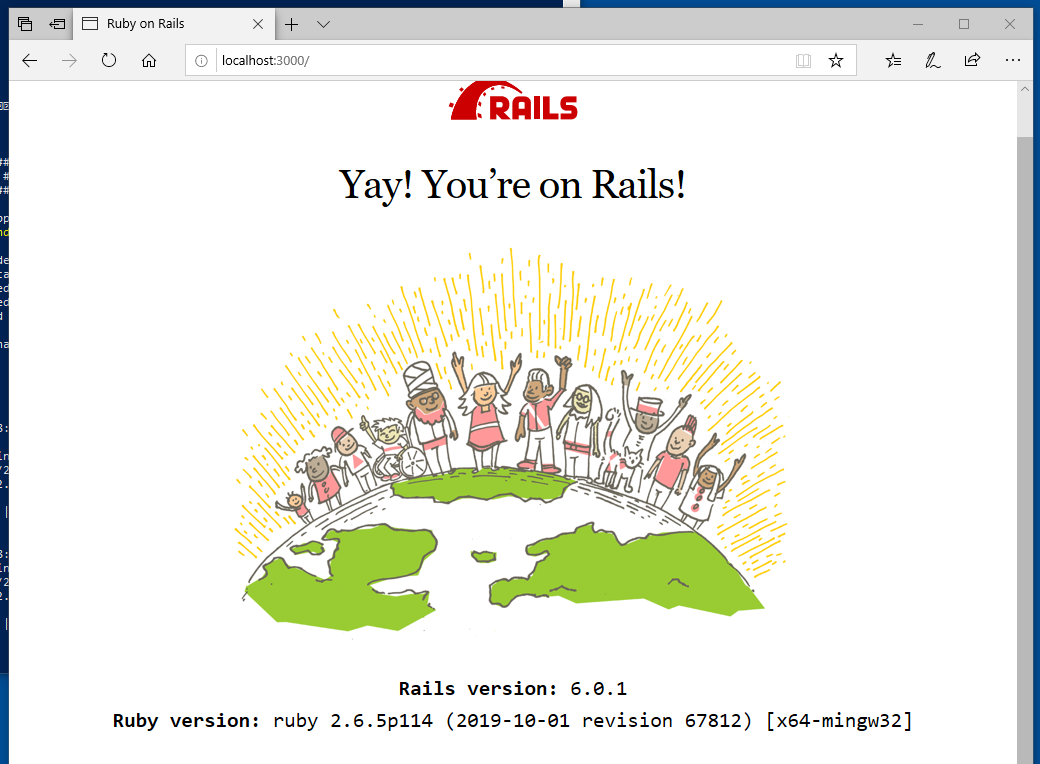The Rails welcome page